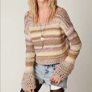 Free People Chunky Knit Crop Bell Sleeve Sweater
